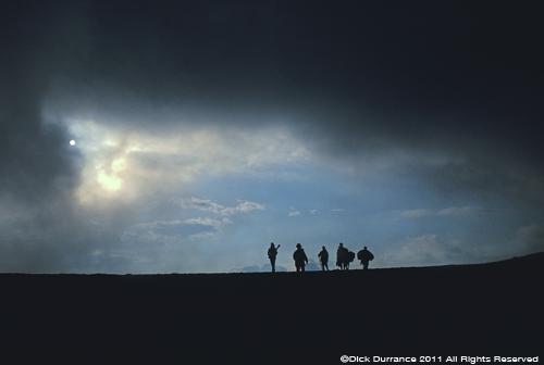Hikers hiking Carpathian Mountains of Rumania